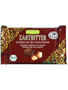 Dark chocolate with whole hazelnuts 100g - Organic