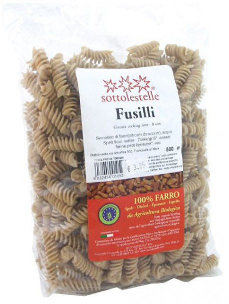 Partially Wholemeal Spelt Fusilli 500g - Organic